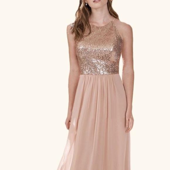 245626ecedfd Dresses | Rose Gold Sequin Chiffon Gown Size 16 | Poshmark